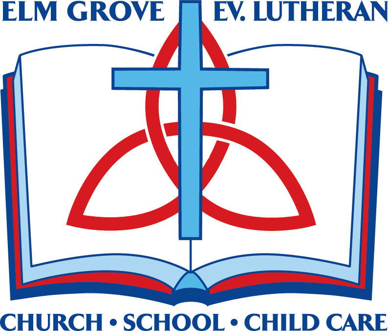 elm grove logo. a cross on top of a book