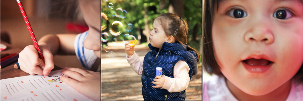 three photos side by side. the first image is a young girl doing homework, the second image is a young girl blowing bubbles and the third image is a young girl looking straight in the camer in amazement